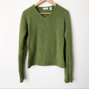 Ann Taylor Green V-Neck Pullover Wool Sweater